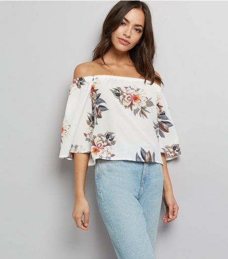 Parisian White Floral Print Bardot Neck Top  | New Look
