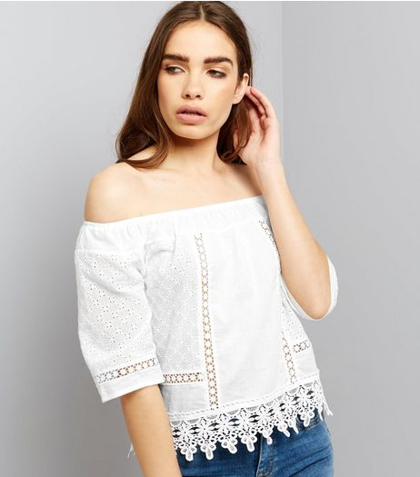 Parisian White Crochet Lace Trim Bardot Neck Top  | New Look