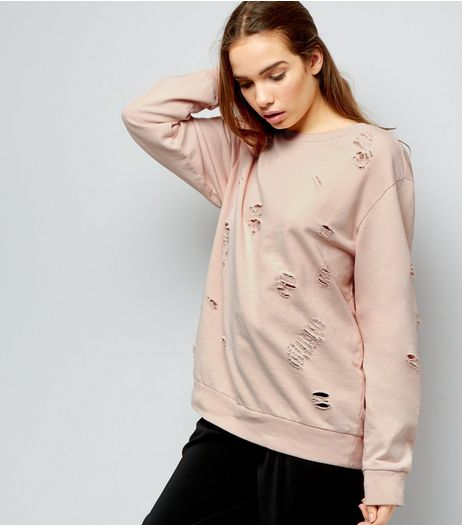 Cameo Rose Nude Pink Ripped Jumper | New Look