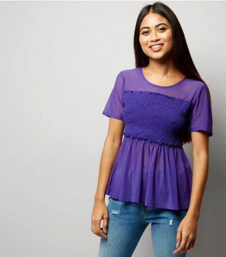 Petite Purple Shirred Mesh Top | New Look