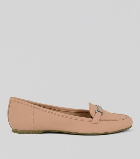 Pink Leather Snaffle Trim Loafers | New Look