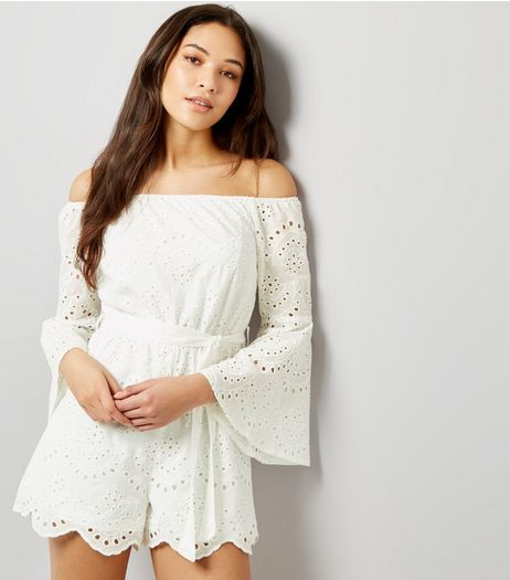 Parisian White Broderie Flared Sleeve Bardot Neck Playsuit | New Look