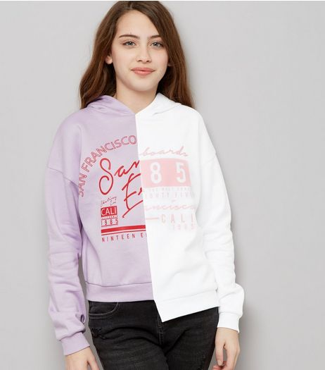 Teens Lilac Asymmetric Spliced Hem Hoodie | New Look