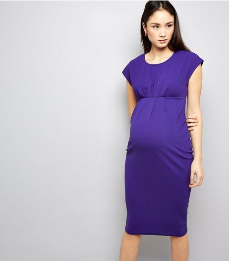 Maternity Purple Short Sleeve Midi Dress | New Look
