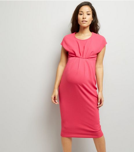 Maternity Bright Pink Short Sleeve Midi Dress | New Look