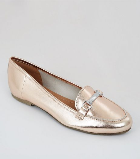 Rose Gold Metallic Leather Snaffle Trim Loafers | New Look