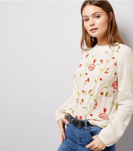 Anita and Green White Floral Embroidered Top | New Look