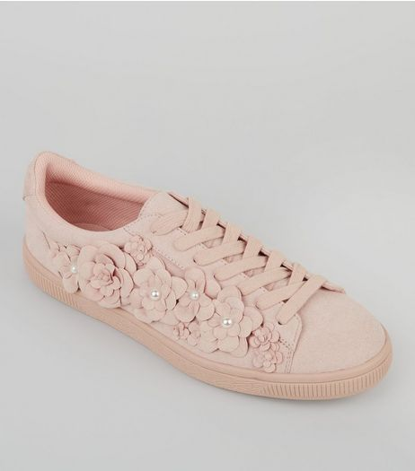 Pink Suedette 3D Flower Trainers | New Look