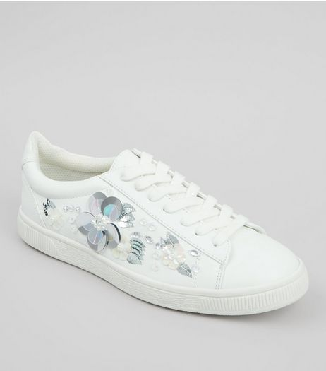 White 3D Floral Embellished Lace Up Trainers | New Look