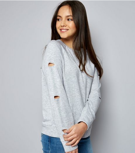 Teens Grey Ripped Sleeve Sweater | New Look