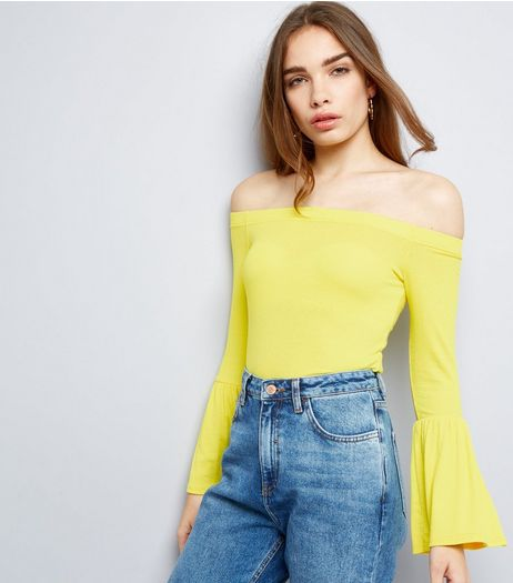 Yellow Ribbed Bell Sleeve Bardot Neck Top | New Look