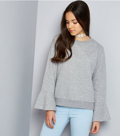 Teens Grey Bell Sleeve Sweater | New Look