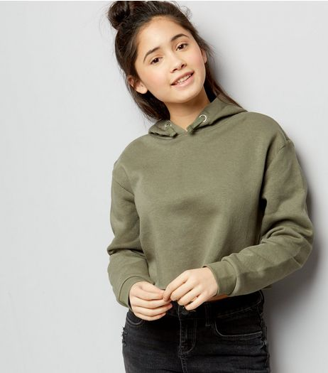 Teens Khaki Cropped Raw Edge Hoodie | New Look