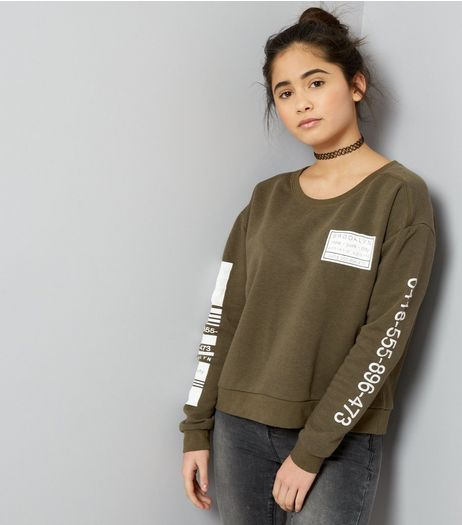 Teens Khaki Phone Number Print Sleeve Sweater  | New Look