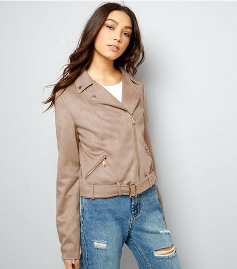Tall Stone Suedette Biker Jacket | New Look