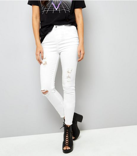 Tall White Ripped Skinny Jeans  | New Look