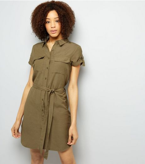 Brave Soul Stone Tie Waist Shirt Dress   | New Look