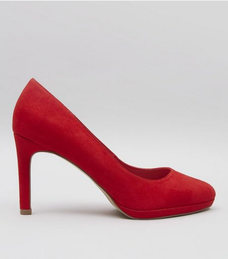 Red Comfort Suedette Platform Court Shoes | New Look