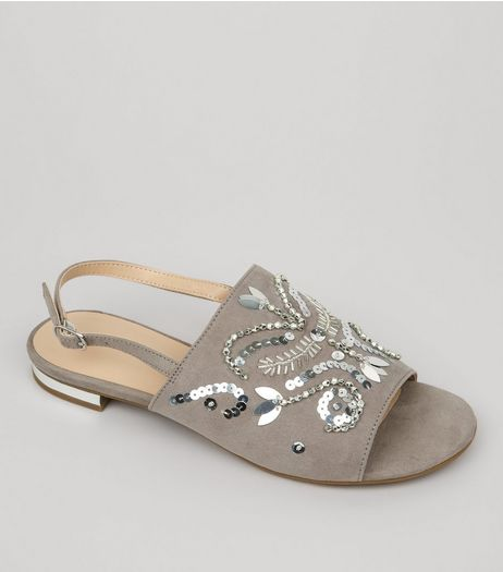 Grey Suedette Embellished Sling Back Mules  | New Look