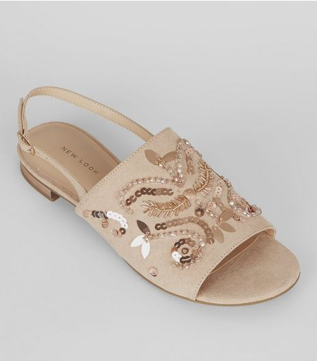 Nude Pink Suedette Embellished Sling Back Mules  | New Look