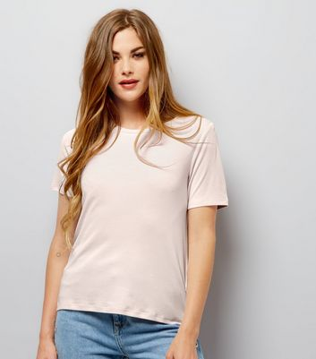 Pink Ribbed Crew Neck T-Shirt