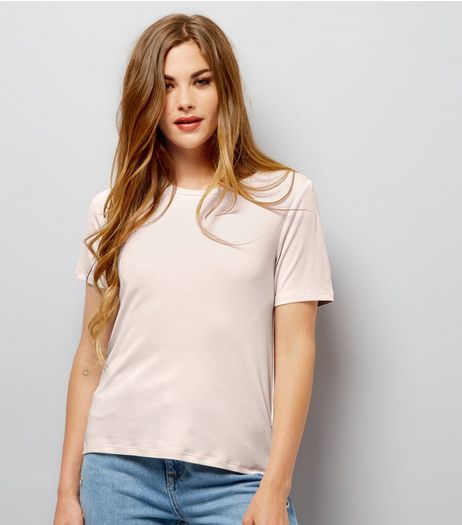 Pink Ribbed Crew Neck T-Shirt | New Look