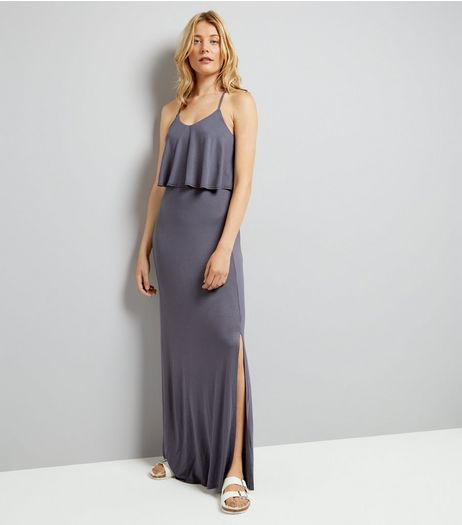Grey Layered Cross Strap Back Maxi Dress | New Look
