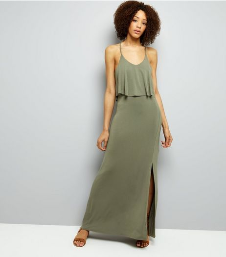 Khaki Layered Cross Strap Back Maxi Dress | New Look