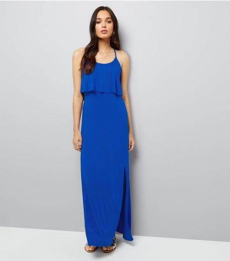Blue Layered Split Side Maxi Dress  | New Look