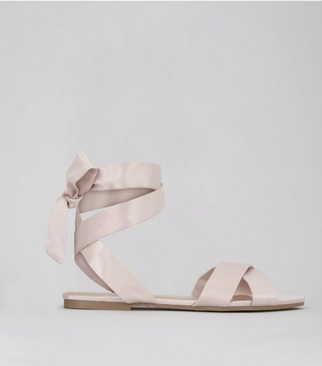 Pink Satin Cross Strap Ankle Tie Sandals | New Look