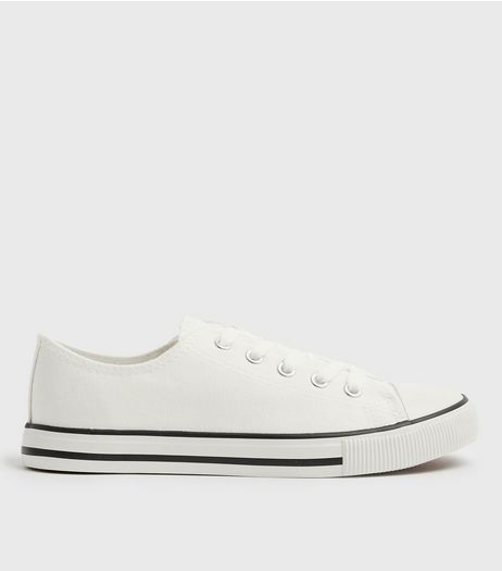 White Canvas Stripe Sole Trainers | New Look