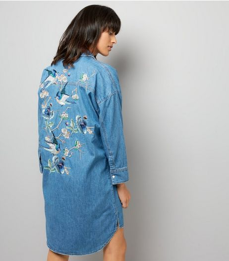 Blue Embroidered Back Oversized Shirt Dress | New Look