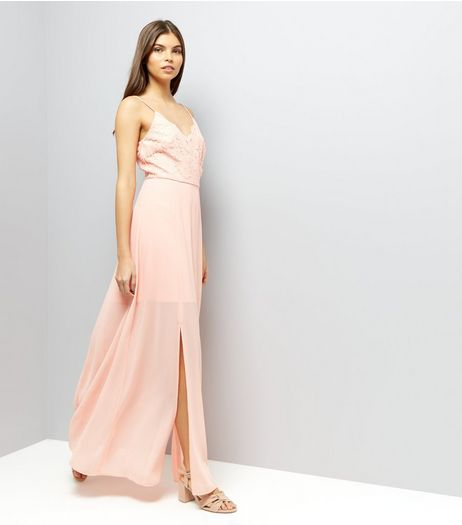 Coral Pink Lace Panel Strappy Maxi Dress | New Look