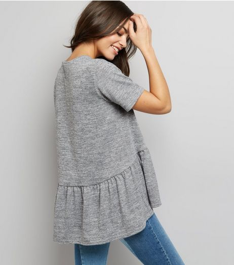 Pale Grey Peplum Hem T-Shirt  | New Look