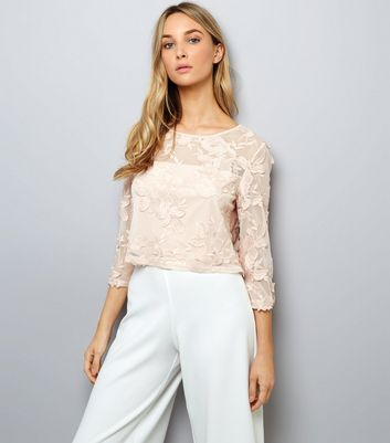 Shell Pink Floral Embroidered Mesh 3/4 Sleeve Top