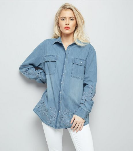 Blue Floral Embroidered Denim Shirt | New Look