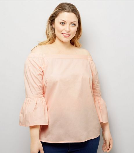 Curves Shell Pink Bell Sleeve Bardot Neck Top | New Look
