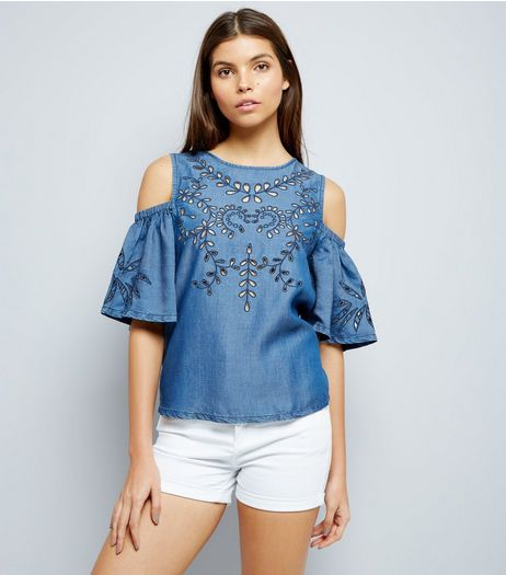 Blue Embroidered Cold Shoulder Top  | New Look