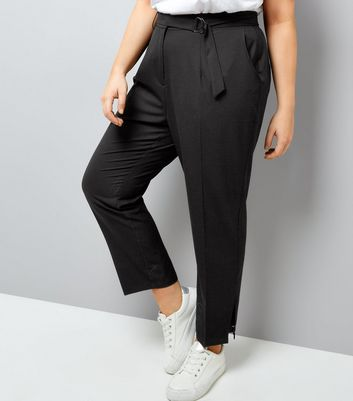 Curves Black D-Ring Hem Cropped Trousers