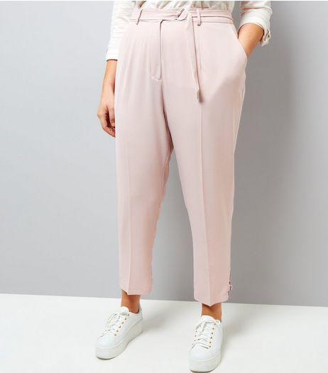 Curves Pink D-Ring Hem Cropped Trousers | New Look