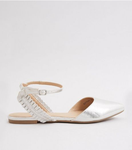Silver Metallic Frill Trim Pointed Pumps | New Look