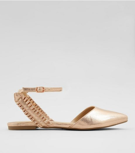 Rose Gold Frill Trim Pointed Pumps | New Look