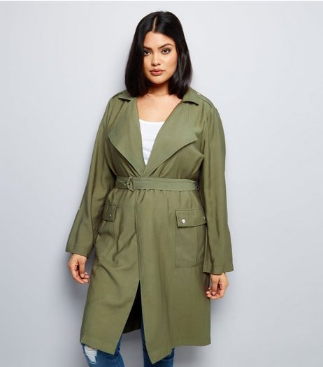 Curves Khaki Belted Duster Coat | New Look