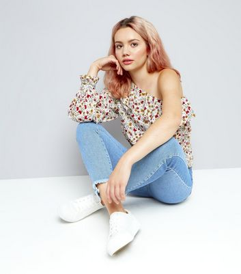 White Floral Print Frill Trim Off The Shouler Top