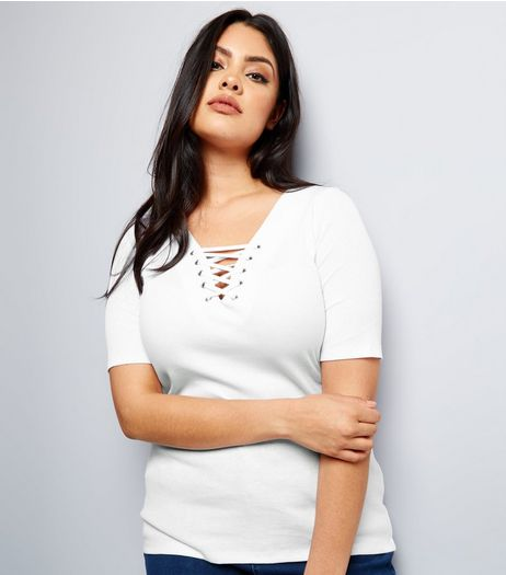Curves White Eyelet Lace Up Ribbed Short Sleeve Top | New Look