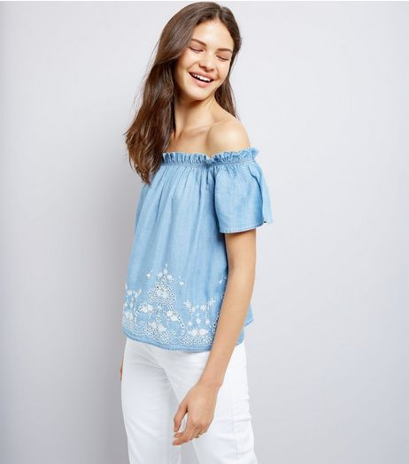Blue Bardot Neck Broderie Hem Denim Top  | New Look