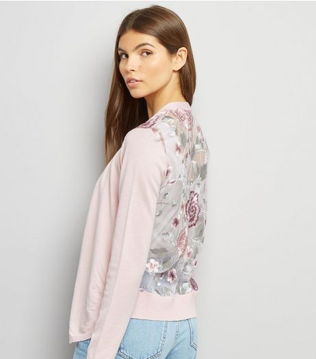Pink Floral Embroidered Cardigan  | New Look
