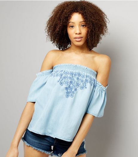 Blue Floral Embroidered Bardot Neck Top  | New Look