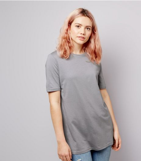 Pale Grey Ring Back Short Sleeve T-Shirt  | New Look
