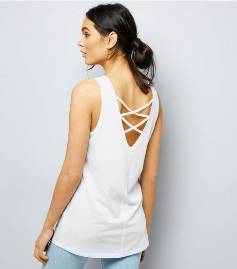 White Lattice Back Vest  | New Look